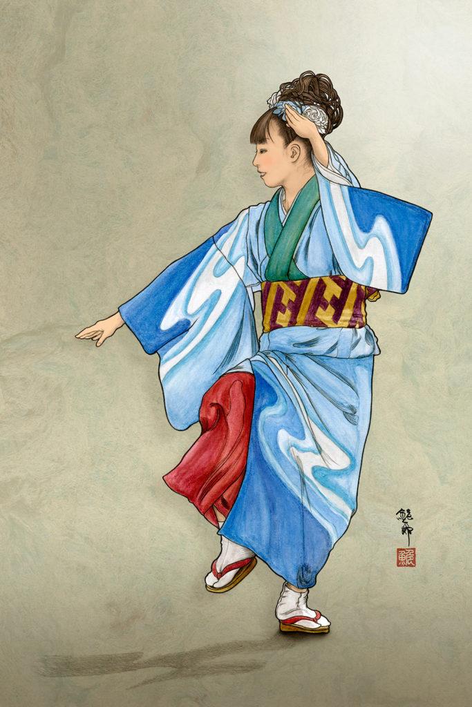 牛深ハイヤ踊りを踊る女性のイラスト