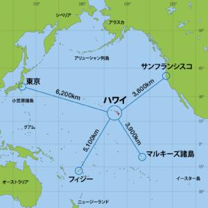 ハワイを中心とした太平洋の地図