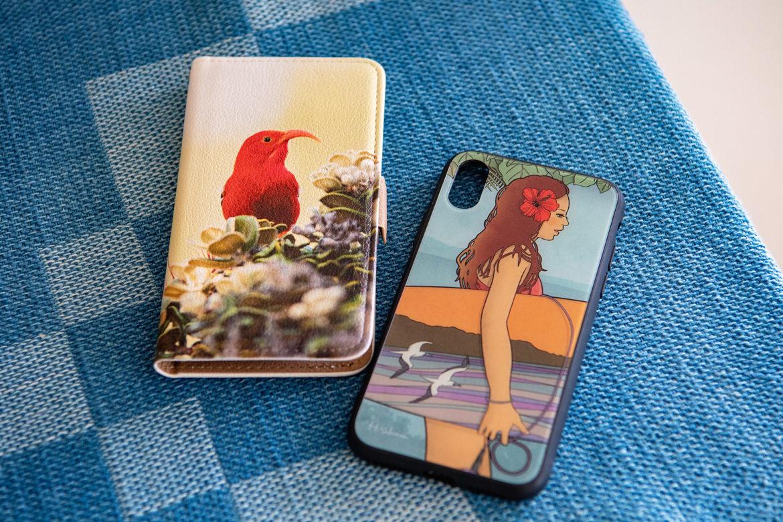イイヴィの手帳型ケースとダイヤモンドヘッド三十六景のiPhoneケース